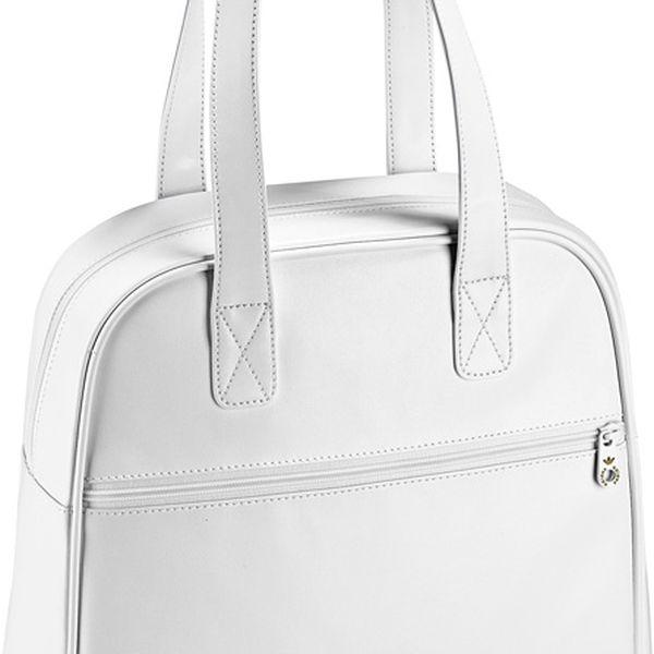 Sportovní dámská koženková kabelka AC Bowlingbag white/gold