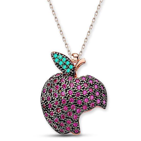 Dámský stříbrný náhrdelník s nakousnutým jablkem Elite Goby