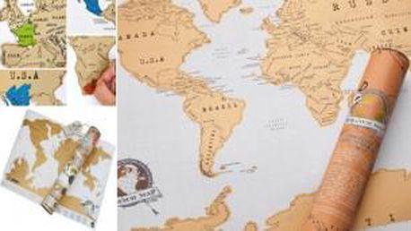 Stírací mapa světa. Super dárek pro každého!