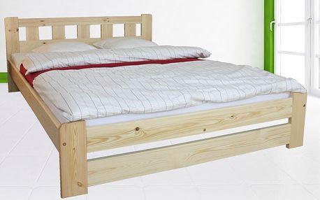 Postelový komplet z masívu včetně matrace a roštu + zvýšené čelo postele