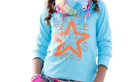 Módní dívčí tyrkysové tričko s potiskem