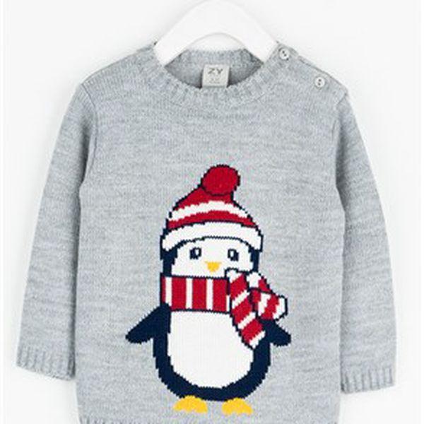 Roztomilý dětský svetr s tučňákem