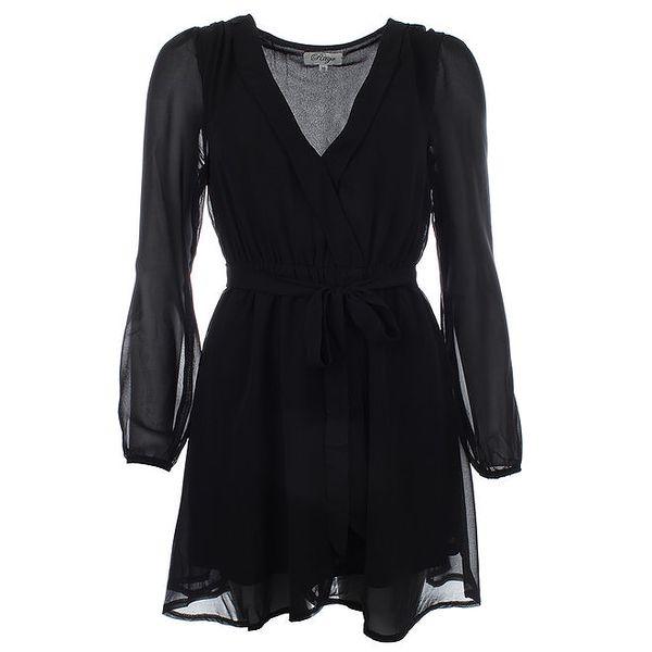Dámské černé šaty se zavazováním v pase Madam Rage