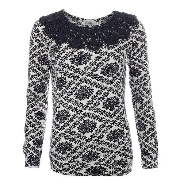 Dámský svetr s černým ozdobným límečkem Madam Rage
