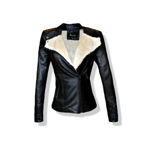 Černá elegantní bunda s kožíškem