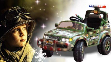 Elektrické Army auto pro děti s hudbou, houkačkou a alarmem! Řízení pedálem i dálkovým ovladačem!