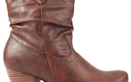 Dámské tmavě hnědé boty na zip Spot on