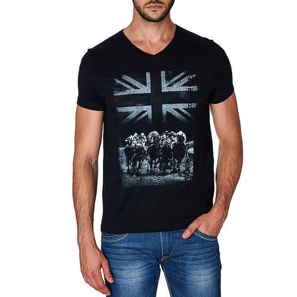 Pánské černé tričko s potiskem Paul Stragas
