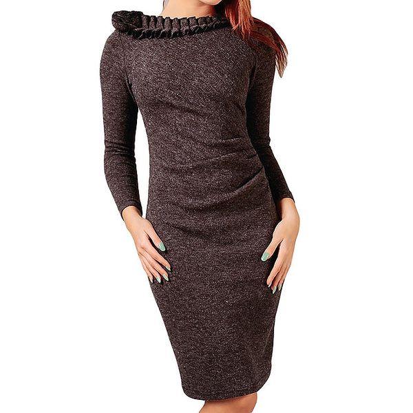 Dámské šedo-hnědé šaty s ozdobným výstřihem Vera Fashion