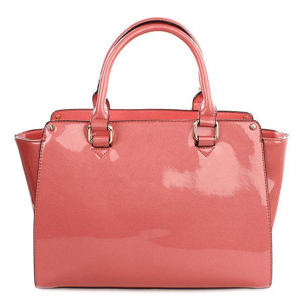 Dámská lesklá korálově růžová kabelka Gessy