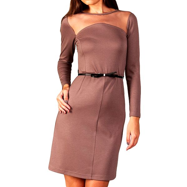 Dámské tmavě béžové šaty s transparentním dekoltem Vera Fashion