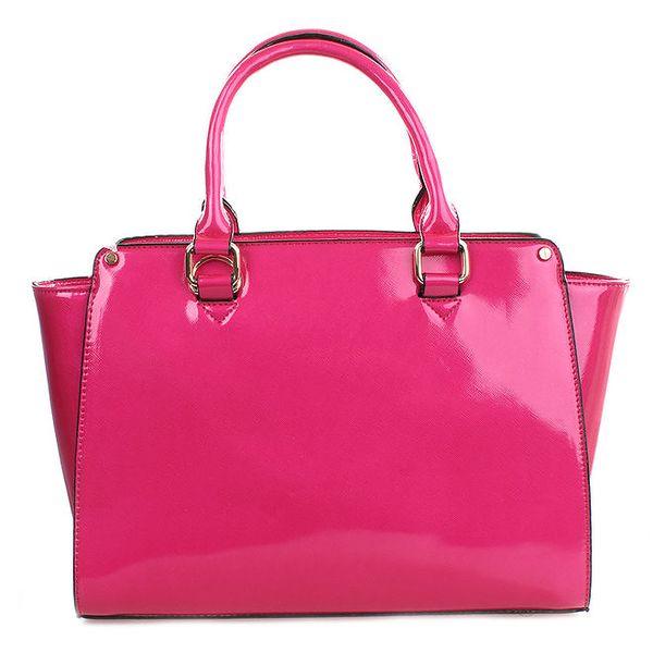 Dámská sytě růžová lesklá kabelka Gessy