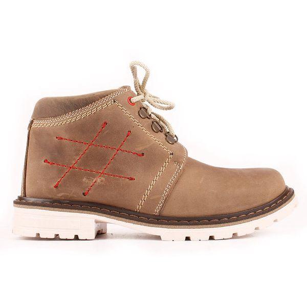 Dámské béžové kotníkové boty se zateplením a prošíváním Maxim