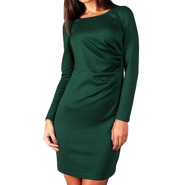 Dámské tmavě zelené šaty s dlouhým rukávem Vera Fashion