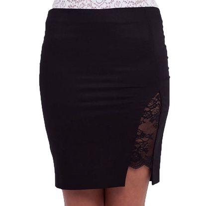 Dámská černá sukně s krajkovým rozparkem Arefeva