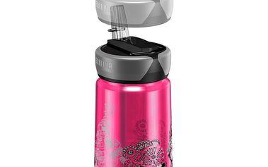 Dětská láhev o 0,35l objemu s možností připojení na karabinu a dvěma typy uzávěrů