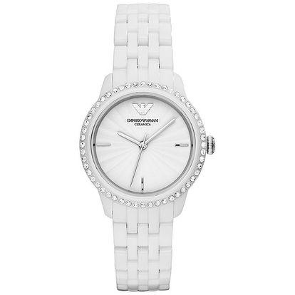 Dámské bílé hodinky s keramickým řemínkem Emporio Armani