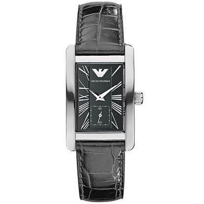 Dámské černé hodinky s koženým páskem Emporio Armani
