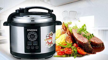 Elektrický multifunkční tlakový hrnec SPARROW o obsahu 6 litrů.