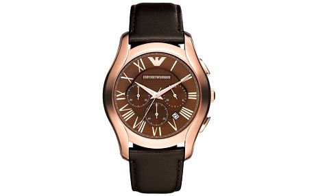 Pánské analogové hodinky s tmavě hnědým řemínkem Emporio Armani