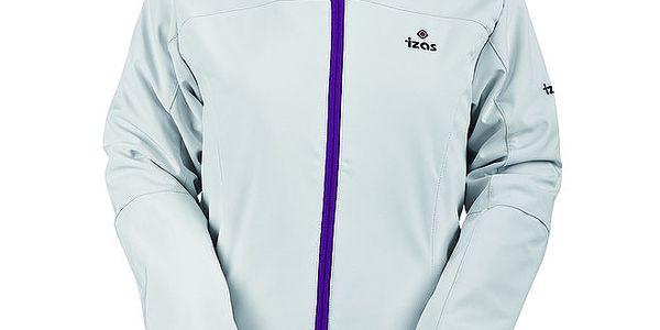 Dámská bílá softshellová bunda s fialovým zipem Izas