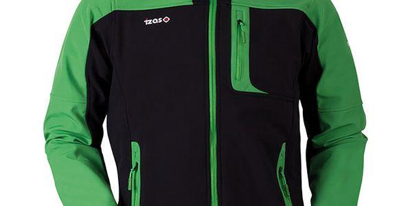 Pánská černo-zelená softshellová bunda Izas
