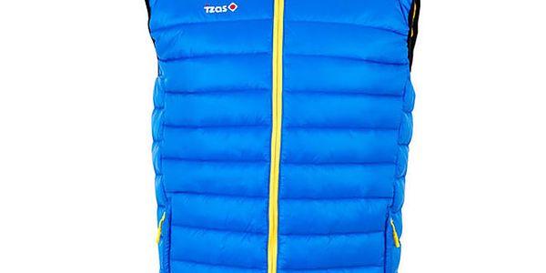 Pánská modrá prošívaná vesta se žlutým zipem Izas