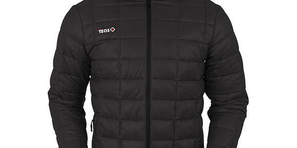 Pánská černá prošívaná bunda s černým zipem Izas