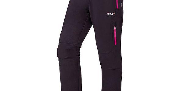 Dámské černé kalhoty s páskem a fuchsiovými detaily Izas