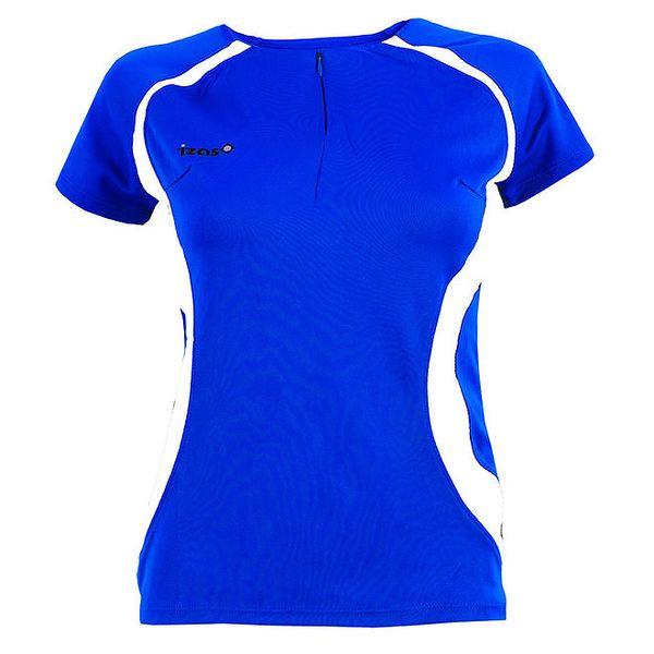 Dámské modré tričko s bílými prvky a zipem Izas
