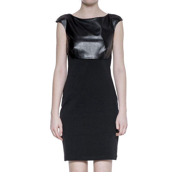 Dámské černé šaty s koženkovým dekoltem Gene
