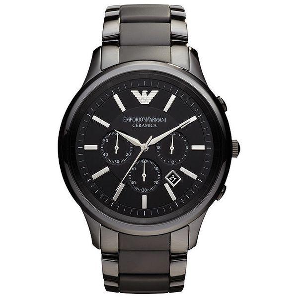 Pánské černé hodinky s chronografem Emporio Armani