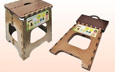 Skládací plastová stolička - hnědá