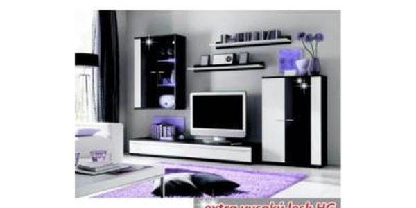 Obývací stěna CANE - bíločerná, s LED osvětlením
