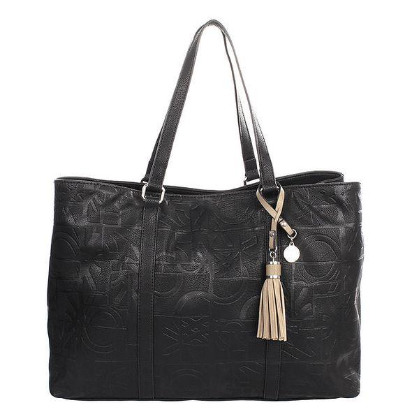 Dámská černá kabelka s reliéfním potiskem a střapcem United Colors of Benetton