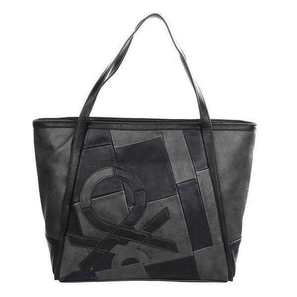 Dámská šedo-černá kabelka se vzorem United Colors of Benetton