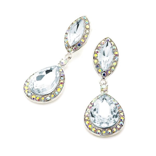 Dámské visací náušnice s krystalky Carmen Luna - stříbrná barva