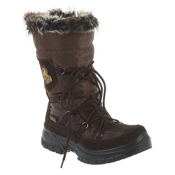 Dámské hnědé zimní boty s kožíškem E2ko