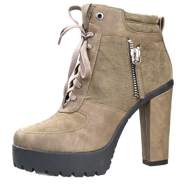 Dámské šedé šněrovací boty na vysokém podpatku Bullboxer