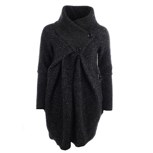 Dámský černý svetr s límcem Euro Fashion