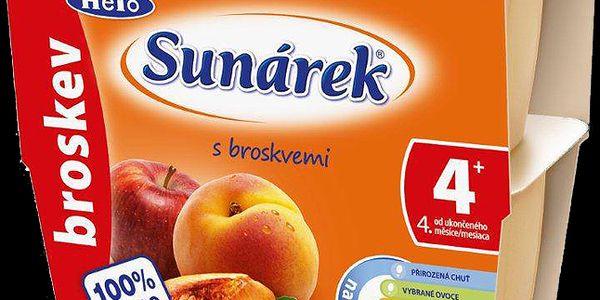 Sunárek 100% broskev (4x100 g) - ovocný příkrm