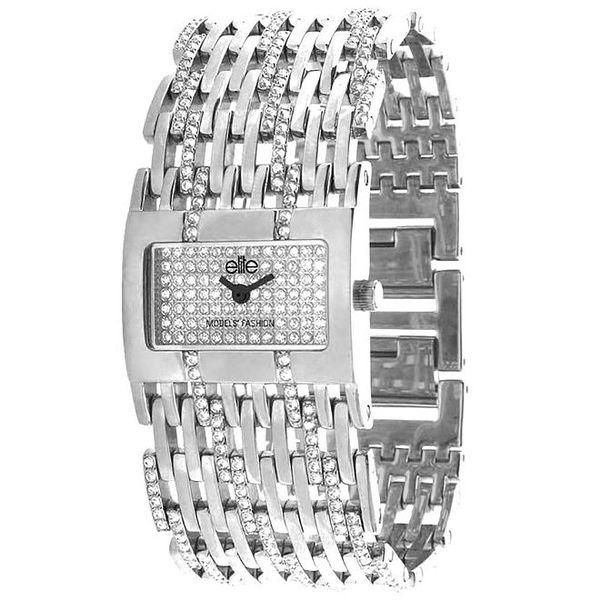 Dámské hodinky ve stříbrné barvě s bílými kamínky Elite