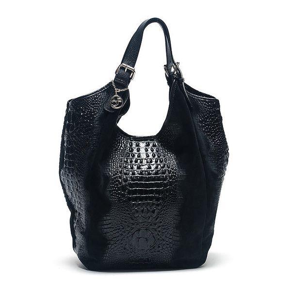 Dámská černá kožená taška s krokodýlím vzorem Carla Ferreri