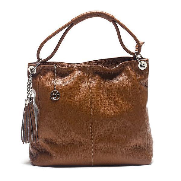 Dámská koňaková kožená kabelka s ozdobnými střapci Carla Ferreri