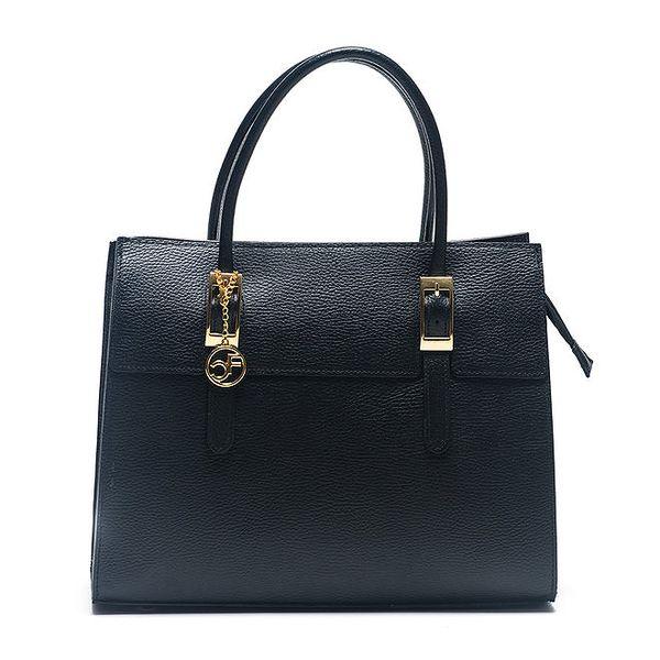 Dámská černá kabelka se zlatými prvky Carla Ferreri
