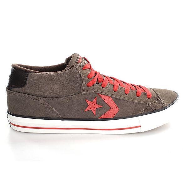 Šedo-červené nízké kožené tenisky Converse