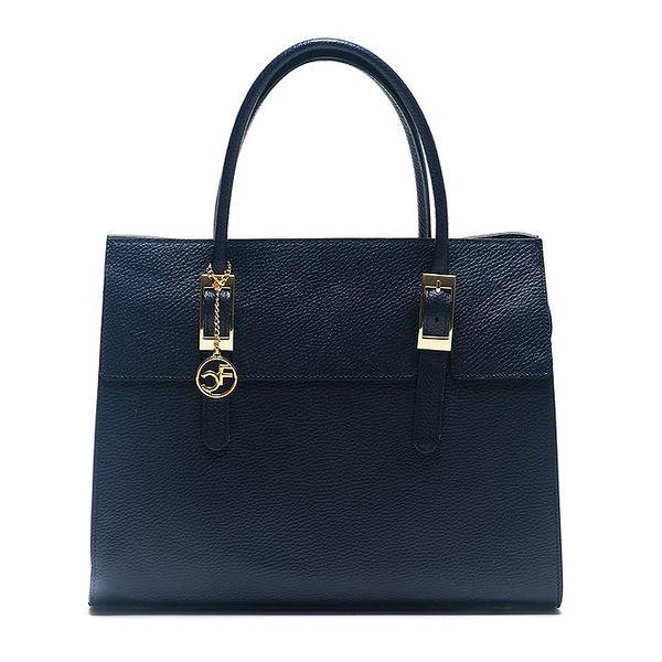 Dámská modrá kabelka se zlatými prvky Carla Ferreri