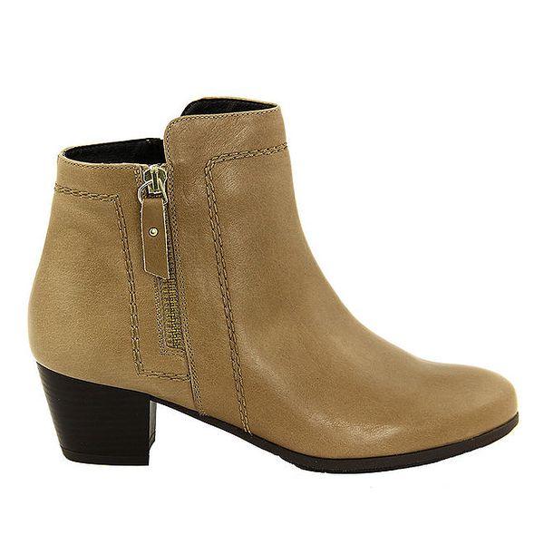 Dámské béžové kotníčkové boty se zipy Eye