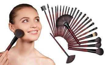 Praktický 24dílný set štětců na make-up