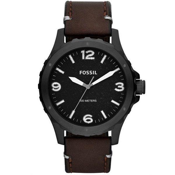 Pánské černé hodinky s hnědým páskem Fossil